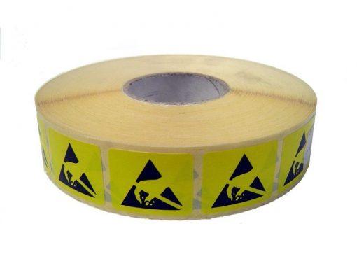 Rotolo di etichette adesive con logo ESD 25x30mm