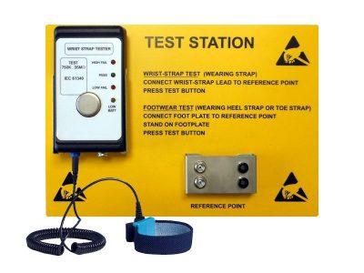 EEBCSTAT Tester per bracciali ESD con pannello istruzioni