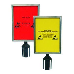 Sign holder for 2 belts barrier posts