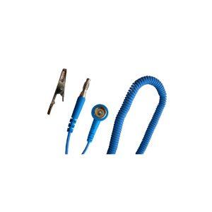 Light blue coiled cord FF stud/banana for ESD wriststraps