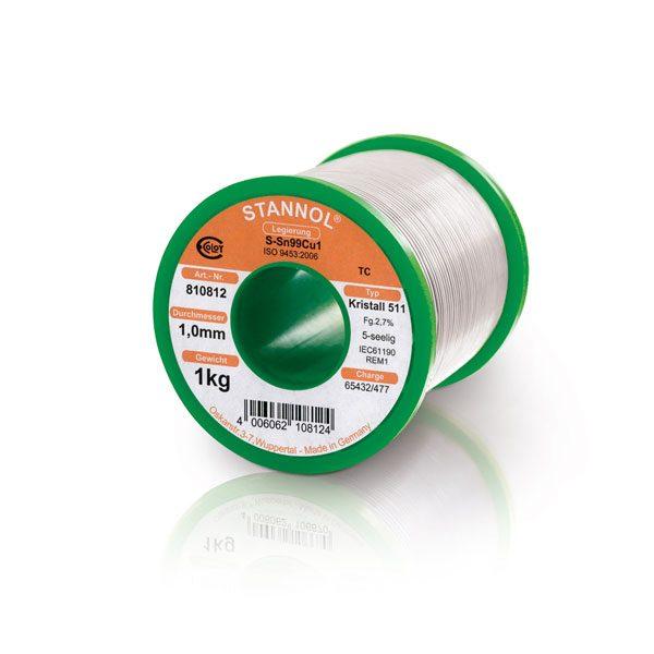 Solder wire Stannol LF Sn99Cu1 alloy KR511 Ø from 0.5 to 1.0 mm