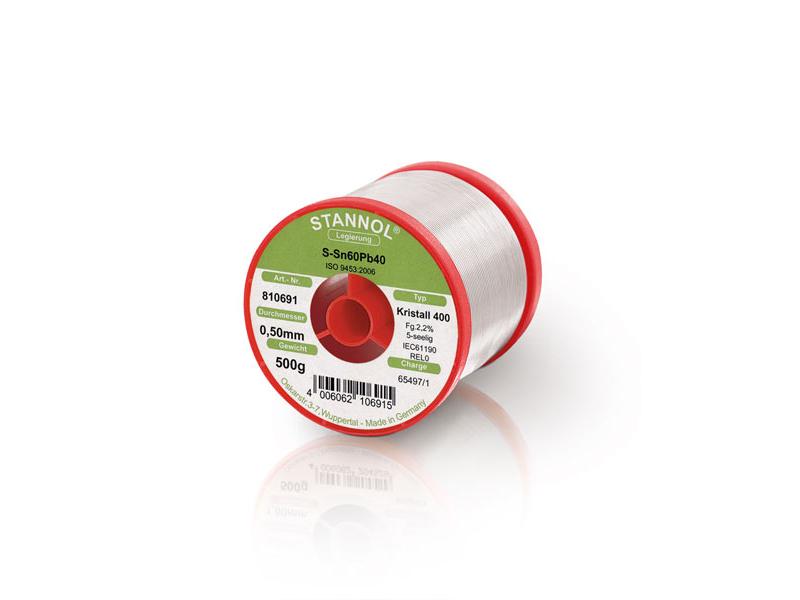 Solder wire Stannol Sn60Pb40 alloy KR400 - 0.5Kg (Ø0.5mm)