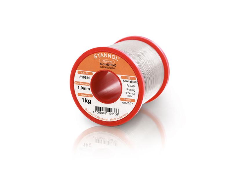 Solder wire Stannol Sn60Pb40 alloy KR505 Ø from 0.5 to 1.0 mm