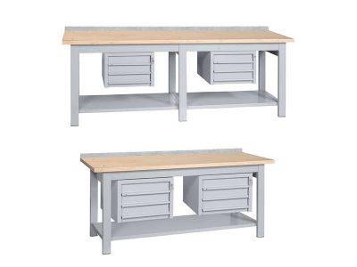 Banco da lavoro serie Faggio con 2 cassettiere (larghezza 200/250cm)