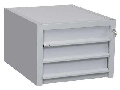 Cassettiera a 3 cassetti in acciaio verniciato per banchi da lavoro