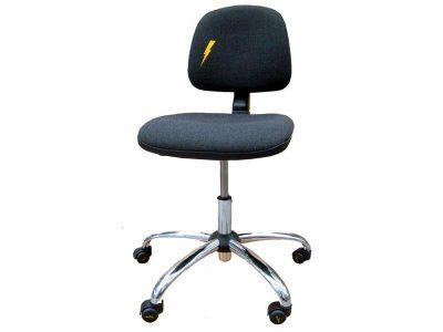 Sedia ESD antistatica con ruote, seduta e schienale in tessuto Grigio | El.Mi