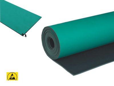 Tappeto antistatico ESD da banco doppio strato Verde/Nero in rotioli, 60/100cm x 10m, sp. 2mm