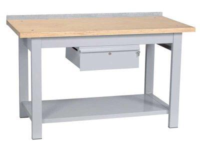 Banco da lavoro con cassetto e piano di lavoro in legno (L100/200cm)