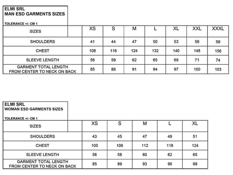 El.Mi ESD Garment | 2020 Sizes chart [ENG]