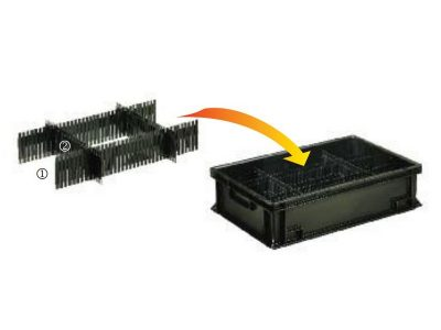 Divisori conduttivi componibili per contenitori antistatici Newbox