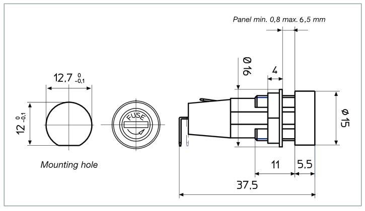 Portafusibile da pannello PTF/35 disegno tecnico