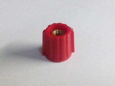 Manopola rossa lucida alette 15mm