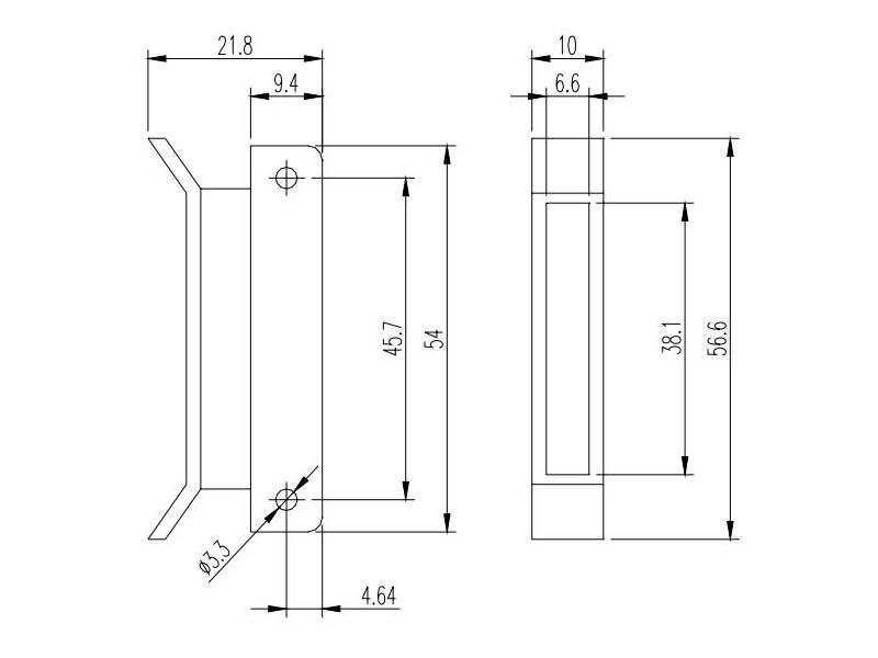 ECS-36 Estrattore per PCB 1,6mm fissaggio a pressione  Dimensioni