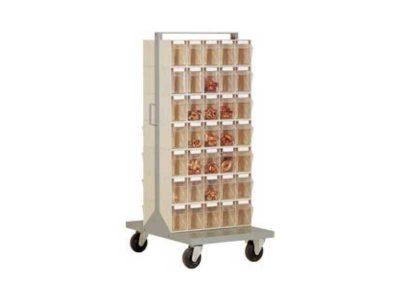 Carrello scaffale STM-70 con 70 cassetti ribaltabili trasparenti