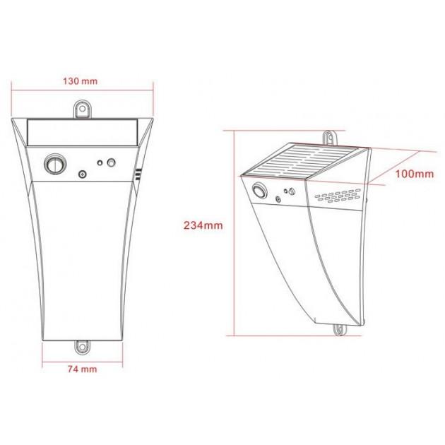 Lampada solare a LED Techly - Disegno tecnico
