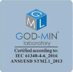 God-Min Laboratory - Certified according to: IEC 61340-4-6 2016 ANSI/ES STM2.1_2013