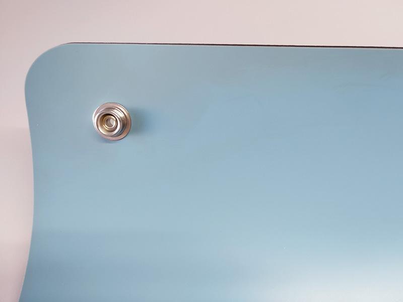 Tappetino ESD antistatico Azzurro e Nero con bordi arrotondati e 2 bottoni (120x60cm)