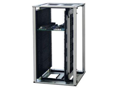 Rack portaschede ESD conduttivo in ABS alte temperature con sistema di regolazione veloce - Compatibile con pick and place