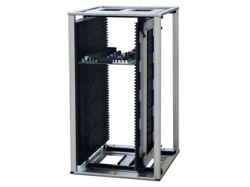 Rack portaschede ESD conduttivo in ABS alte temperature con sistema di regolazione veloce - Compatibile con pick and place