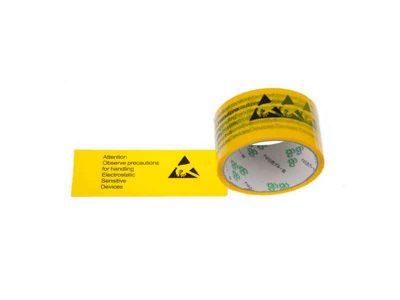 Nastro adesivo per imballaggi con simbolo ESD e avvertenze (50mm x 66m)