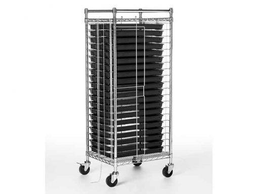 Carrello portavassoi antistatico esd con 20 contenitori conduttivi