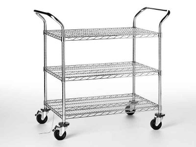 Wired steel ESD Cart with 3 Shelves (609x907x940h mm)