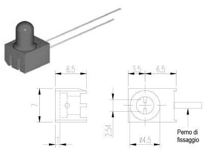 D5 Portaled da circuiti stampati con perno di fissaggio, per led Ø5mm