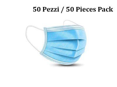 Mascherina usa e getta CE a 3 strati azzurra - Confezione da 50 pezzi
