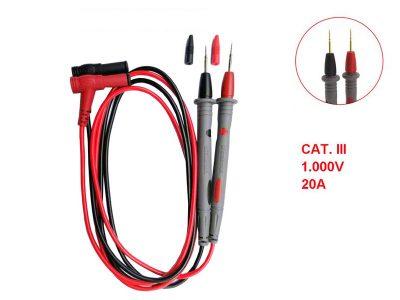 Cavi/Puntali di ricambio Rosso e Nero per tester e multimetri (CAT. III, 1000V, 20A)